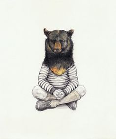 Artist Michael McConnell, aka Pooping Rabbit, lives and works in San Francisco, CA. He paints these beautiful art prints which are anthropomorphic in nature. Art And Illustration, Bear Art, Animal Heads, Watercolor Drawing, Pet Clothes, Art Projects, Images, Art Prints, Drawings