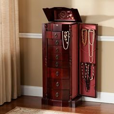 Shelby Wood Accessory Tower Mahogany stain Organizing Drawers
