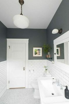 Best Bathroom Paint Colors, Small Bathroom Colors, Grey Paint For Bathroom, Gray And White Bathroom Ideas, Colorful Bathroom, Gray Paint, Colors For Bathroom Walls, Small Narrow Bathroom, Small Bathroom With Tub