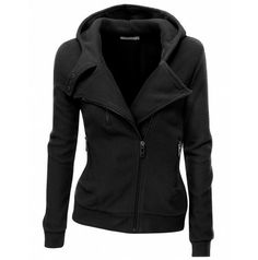 Womens Fleece Zip-up Hoodie with Zipper Point (PWD005)