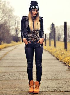 Black Leather Jacket + Leopard Top + Vogue Beanie + Timberland Boots
