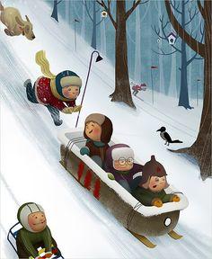 Downhill adventure... - from sports calendar by Catzwolf - (art, illustrations, winter, sledding, kids)
