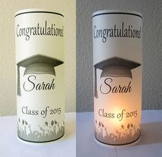 It must be a stunning hit to display these Personalized Graduation Party Centerpiece luminaries at the party. Graduation Party Centerpieces, Graduation Party Themes, College Graduation Parties, Graduation Celebration, Graduation Decorations, Graduation Party Decor, Graduation Photos, Grad Parties, Graduation Gifts