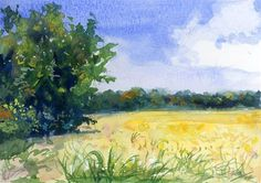 "Daily Paintworks - ""La Vergne Soybean Field"" - Original Fine Art for Sale - © Chris Ousley"