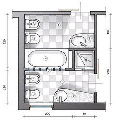 Ecco un progetto in cui da un bagno ne ricavo due, con layout meglio organizzati. Uno resta a uso esclusivo della camera matrimoniale.