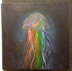 Colorful Jellyfish acrylic painting