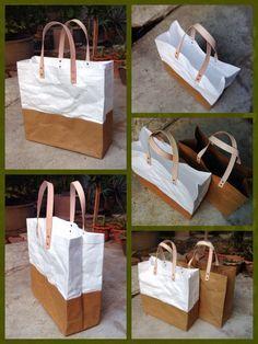 Shopping two tone paper bag Kraft and Tyvek paper by Belltastudio