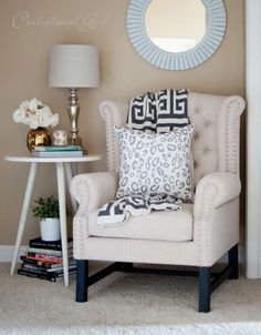 A chic reading corner… every girl has got to have one! #design #home #reading Courtesy of Centsational Girl!
