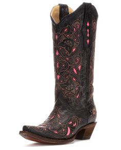 Corral Women's Distressed Black/Brown Floral Pink Inlay Cowgirl Boots http://www.countryoutfitter.com/products/27470-womens-distressed-black-brown-floral-pink-inlay-boots-a1953 #cowgirlboots