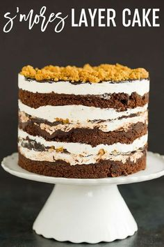 S'MORES LAYER CAKE :: This s'mores cake is built Milk Bar style - layers of chocolate cake, toasted marshmallow frosting, fudge sauce, and graham crust crumbs! via (Layer Cake) Marshmallow Frosting, Toasted Marshmallow, Chocolate Fudge Sauce, Chocolate Cake, Cocoa Cake, Chocolate Frosting, Just Desserts, Delicious Desserts, Keto Desserts
