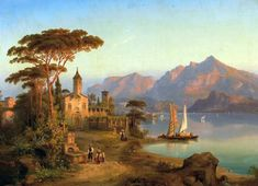 At Lake Garda, View Of Desenzano At Sunset - Heinrich Karl Jaeckel (XIX, German) Mountain Landscape, Landscape Art, Landscape Paintings, Classic Paintings, Old Paintings, Cool Landscapes, Beautiful Landscapes, Exotic Art, Aesthetic Painting