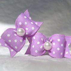 Items similar to Dog Bows- Lilac Polka Dot Pair on Etsy Dog Hair Bows, Dog Bows, Girl Hair Bows, Ribbon Hair Bows, Diy Ribbon, Ribbon Crafts, Ribbon Sculpture, Making Hair Bows, Diy Hair Accessories