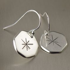 Sterling silver contemporary snowflake earrings