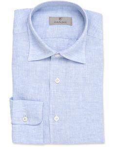 Elegant ash blue linen shirt for men | Shop on Canali.com