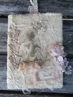 Lace Covered Journal by ChrissiesAttic on Etsy https://www.etsy.com/listing/268535339/lace-covered-journal