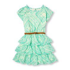 Girls Short Cold-Shoulder Sleeve Paisley Print Belted Tiered Dress