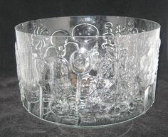 Iittala Finland Oiva Toikka Flora Large Glass Serving Trifle Bowl Mid-Century Modern