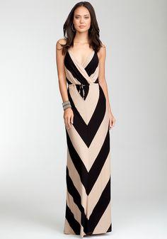 Love....Love....black & tan Bebe maxi dress