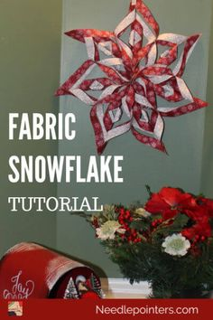 How to make a no sew Fabric Snowflake is part of Fabric christmas ornaments - These fabric snowflakes are wonderful decor for your house this winter This video and photo tutorial shows how to make a no sew fabric snowflake Diy Christmas Snowflakes, How To Make Snowflakes, Quilted Christmas Ornaments, Fabric Ornaments, Christmas Fabric Crafts, Crafts For Teens To Make, Diy And Crafts, Xmas Crafts To Sell, Easy Crafts