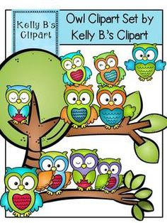 "Owl Clipart Set By Kelly B.'s Clipart.  Buyer says, ""Love, love, LOVE these!! They are adorable and the colors are so vibrant.""  $"