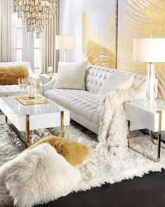 Swoon-Worthy Glam Living Room Design & Decors - Home Decor & Design Glam Living Room, Cozy Living Rooms, Living Room Interior, Home Interior Design, Living Room Furniture, Cream And Gold Living Room, Furniture Stores, Luxury Living Rooms, Glamorous Living Rooms