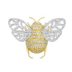 Pave Diamond Bee Brooch