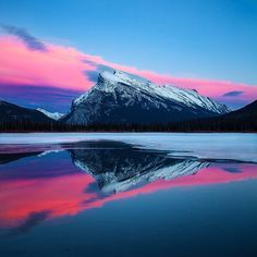 Beautiful Sunset Photo of Vermillion Lakes In Canada