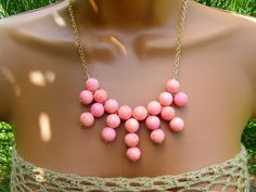 RESERVED FOR MARY  Salmon Pink Coral bib Necklace. Summer Statement. Bubble Necklace.