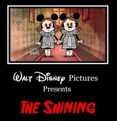""" I hope to god that Disney NEVER tries to do any remakes of Stephen King's novels, because this image alone (even if it IS a parody) i. Disney's The Shining Parody Disney Horror, Horror Cartoon, Horror Movies Funny, Scary Movies, Dark Disney Princess, Disney Parody, Disney Specials, Disney Presents, Mickey Mouse Cartoon"