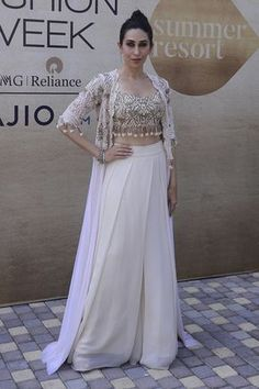 27 Bollywood Celebs Who Slayed At The Lakme Fashion Week 2017 As Showstoppers Karisma Kapoor for Arpita Mehta. 27 Bollywood Celebs Who Slayed At The… Dress Indian Style, Indian Fashion Dresses, Indian Gowns, Indian Designer Outfits, Indian Attire, Pakistani Dresses, Designer Dresses, Indian Designers, Indian Fashion Trends