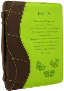 $12.50 LuxLeather Green Hebrews 11:1, 6 Large Bible Cover Bible Covers, Inspirational Gifts, Hebrews 11, Faith, Green, Tooled Leather, Loyalty, Believe, Religion