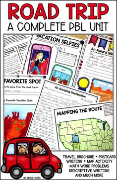 Engage your upper elementary students with a fun, practical Road Trip PBL Project … – TPT Language Arts Elementary – Road Trip Problem Based Learning, Project Based Learning, Map Activities, Learning Activities, Summer School Themes, School Ideas, Road Trip Theme, Real Life Math, Math Strategies