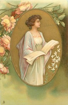 three quarter study of pretty girl wearing white/pale violet, facing mostly right, holding music book, in gilt oval, roses above left