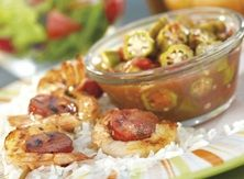 Aprons Shrimp and Sausage Skewers with Stewed Tomatoes and Okra #Publix #Contest
