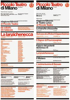 Piccolo Teatro di Milano graphic programme, The project included programmes, posters and publications. Robert Oppenheimer, International Typographic Style, International Style, Massimo Vignelli, Typography Layout, Design Research, Design Museum, Program Design, Graphic Design Art