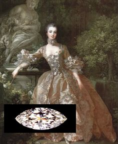 """The history and creation of the """"Marquise"""" diamond cut is credited to King Louis XV of France, who allegedly commissioned the first marquise diamond to reflect the beautiful shape of the mouth of his mistress Madame de Pompadour."""