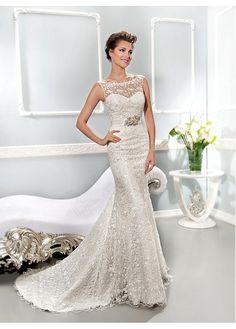 ELEGANT LACE BATEAU NECKLINE NATURAL WAISTLINE MERMAID WEDDING DRESS IVORY WHITE LACE BRIDAL GOWN HANDMADE CUSTOM
