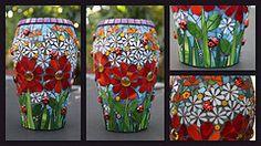 FloWeR FrENzY (Remygem) Tags: flower glass floral spring mosaic beetle ladybug vase colourful gems glassbeads mille jul10 mosaicchallenge remygem