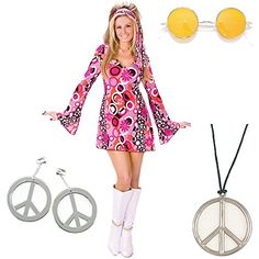 Feelin Groovy Adult Costume Round Glasses Peace Pendant and Earrings SM -- Check out the image by visiting the link.