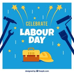 Blue background of labour day tools. Download thousands of free vectors on Freepik, the finder with more than 3 millions free graphic resources Labour Day, Happy Labor Day, Yellow Background, Happy People, Blue Backgrounds, Creative Design, Vectors, Vector Free, How To Draw Hands