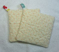 Pot Holder Quilted Embroidered Hot Pad Set of 2  by OwlTakeThat