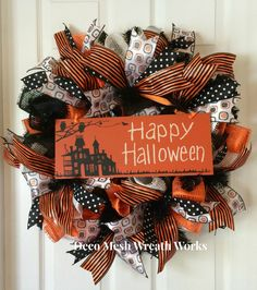 Halloween Wreath, Halloween Deco Mesh Wreath, Halloween Paper Mesh Wreath, Fall Wreath, Halloween Decoration, Halloween Door Hanger by DecoMeshWreathWorks on Etsy