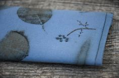 Eco printed hand stitched glasses/mobile case blue color