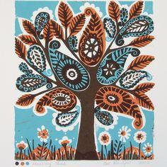Paisley Tree Linoprint ref 043 Lino Art, Hippie House, Linoprint, Linocut Prints, Cool Posters, Paisley Pattern, Stretched Canvas Prints, Tree Art, Prints For Sale