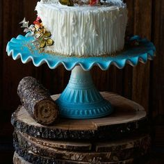 Extra Large Mint Ruffle Cake Plate