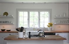kitchen without upper cabinets butcher block countertops - Google Search