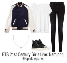 """""""BTS 21st Century Girls Live: Namjoon"""" by sparkiesparks ❤ liked on Polyvore featuring Pieces, Minnie Grace, Converse, Gap, cute, outfit, love, kpop and bts"""