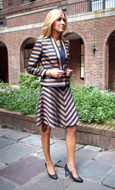 The Classy Cubicle: September Stripes. The fashion blog for professional women in need of office style inspiration and work wear ideas for the corporate world and beyond. {gold and navy striped skirt suit, ann taylor, peplum, a-line skirt, elastic vintage belt, braided necklace, fall fashion 2013}