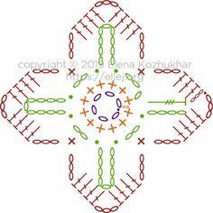 Безотрывное вязание квадратных мотивов «Клевер» | Вязание крючком от Елены Кожухарь Crochet Symbols, Crochet Doily Patterns, Crochet Chart, Crochet Squares, Filet Crochet, Crochet Motif, Irish Crochet, Crochet Doilies, Crochet Flowers