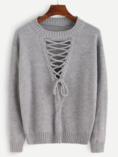 Grey Lace Up Front Hollow Sweater